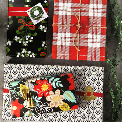Boxes wrapped in holiday wrapping paper
