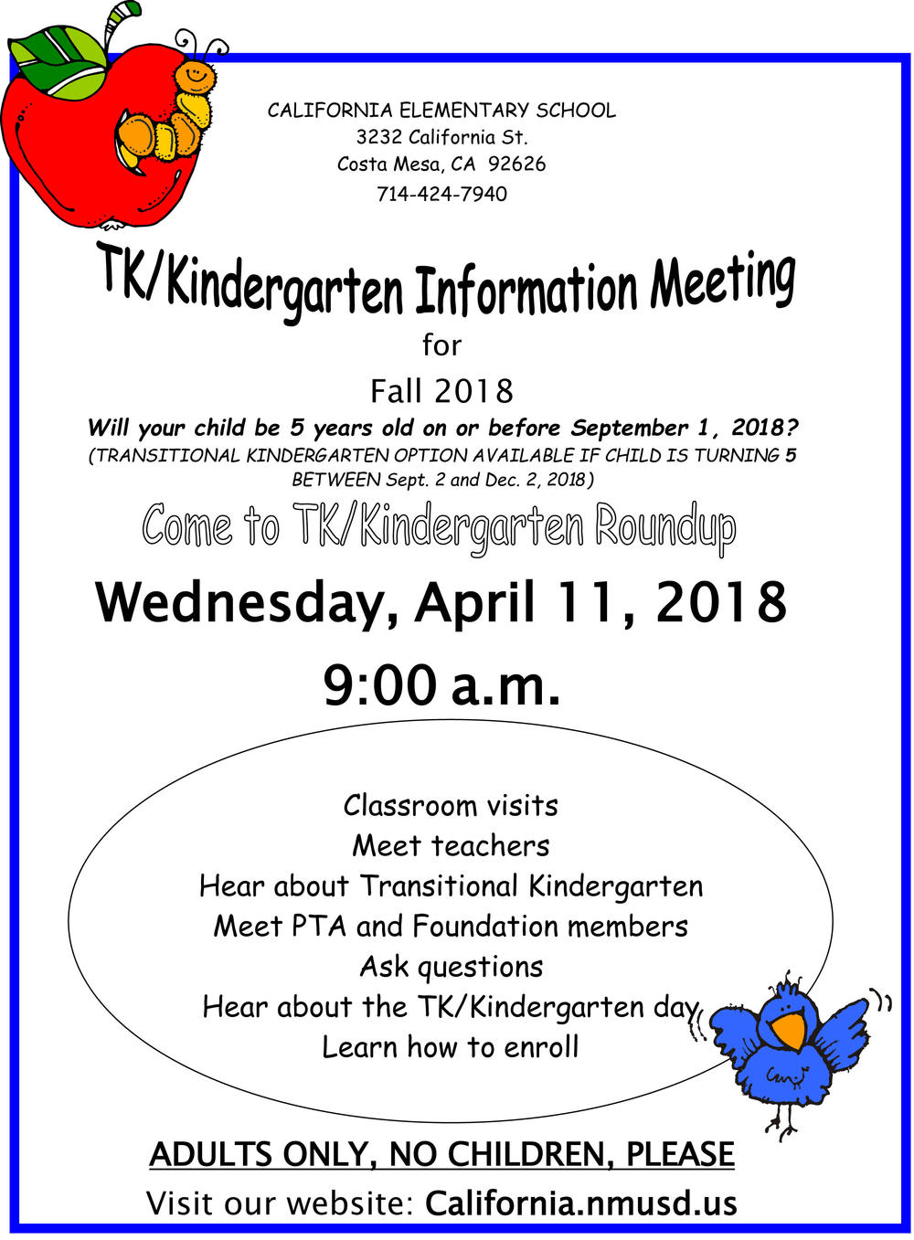 TK Kindergarten Information Meeting flyer