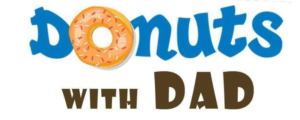 Donuts with Dad-the letter O in donuts is a picture of a donut