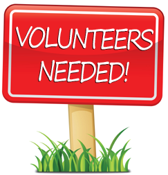 red Volunteers Needed lawn sign