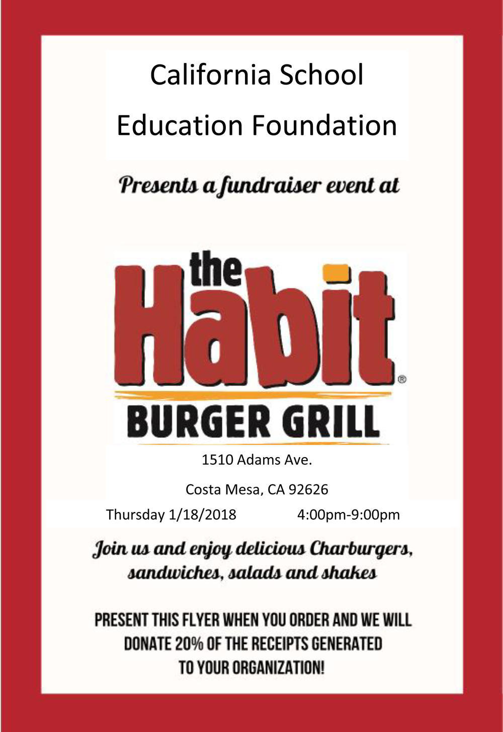 the Habit Burger Grill Flyer