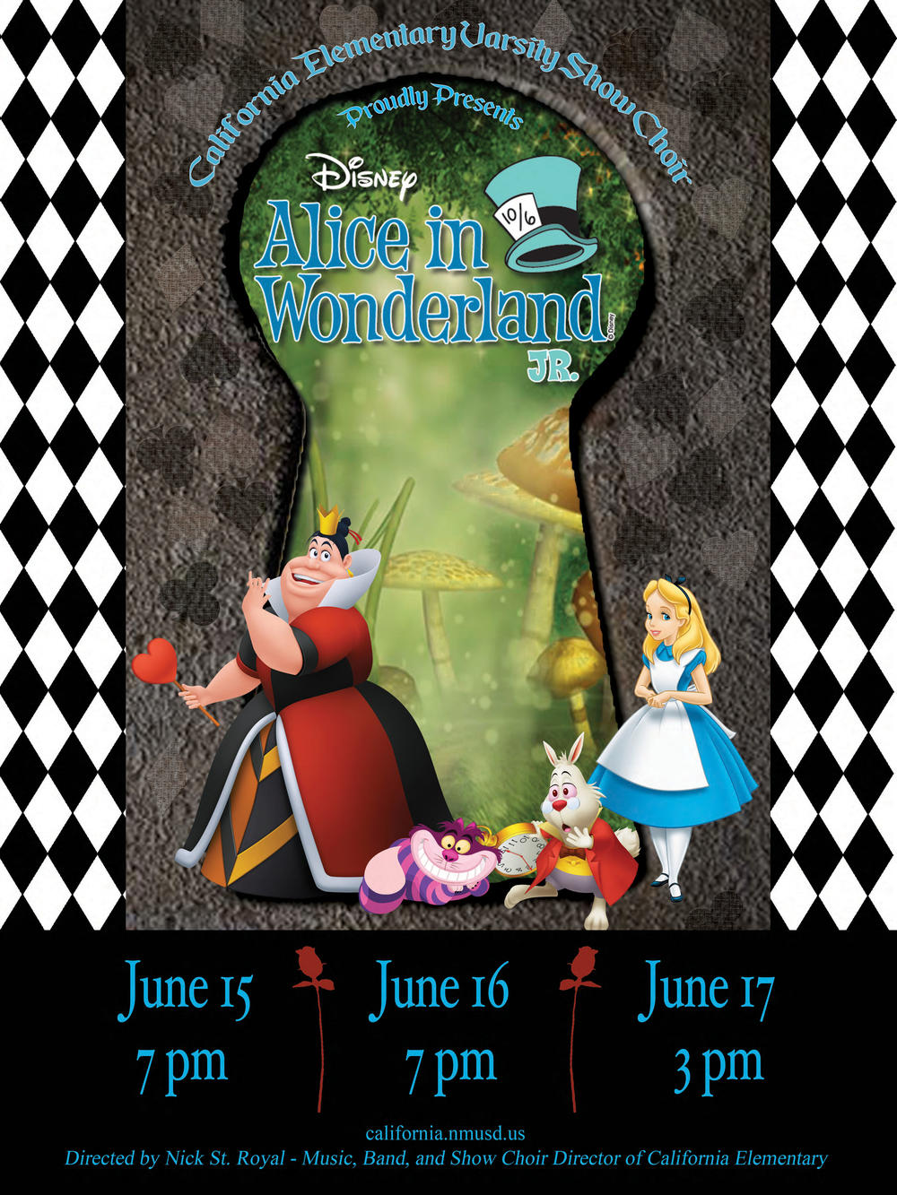 California Elementary Varsity Show Choir Performace of  Alice in Wonderland Jr  Flyer