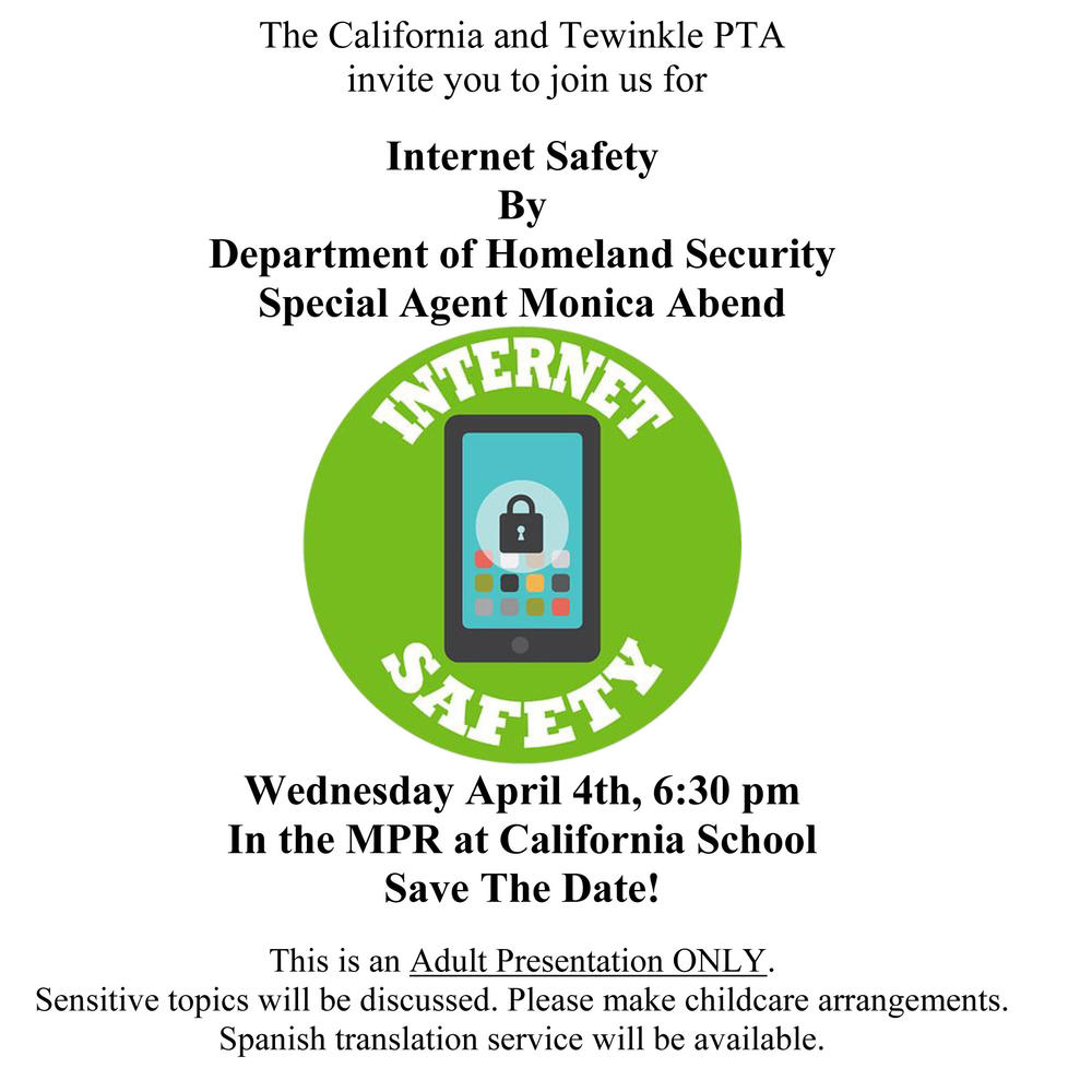PTA Internet Safety Meeting flyer