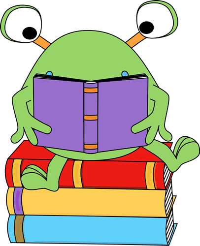 Monster reading a book