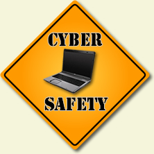 Cyber Safety sign with laptop