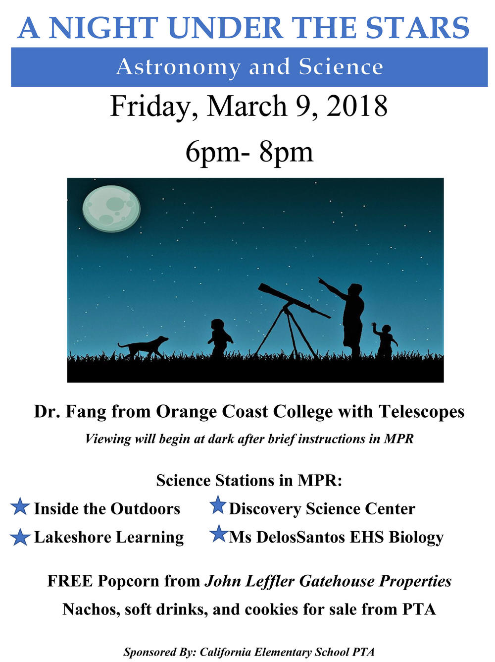 PTA Astronomy and Science Night flyer