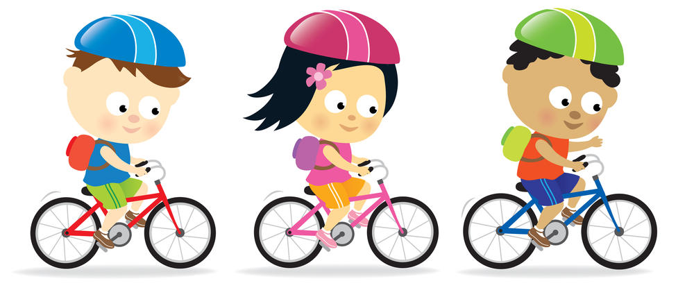 Three children riding bikes