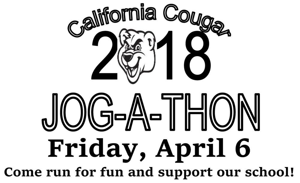 Jog-a-thon logo with new date Friday, April 6