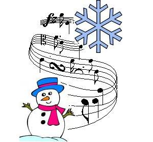 snowman, large snowflake and musical notes