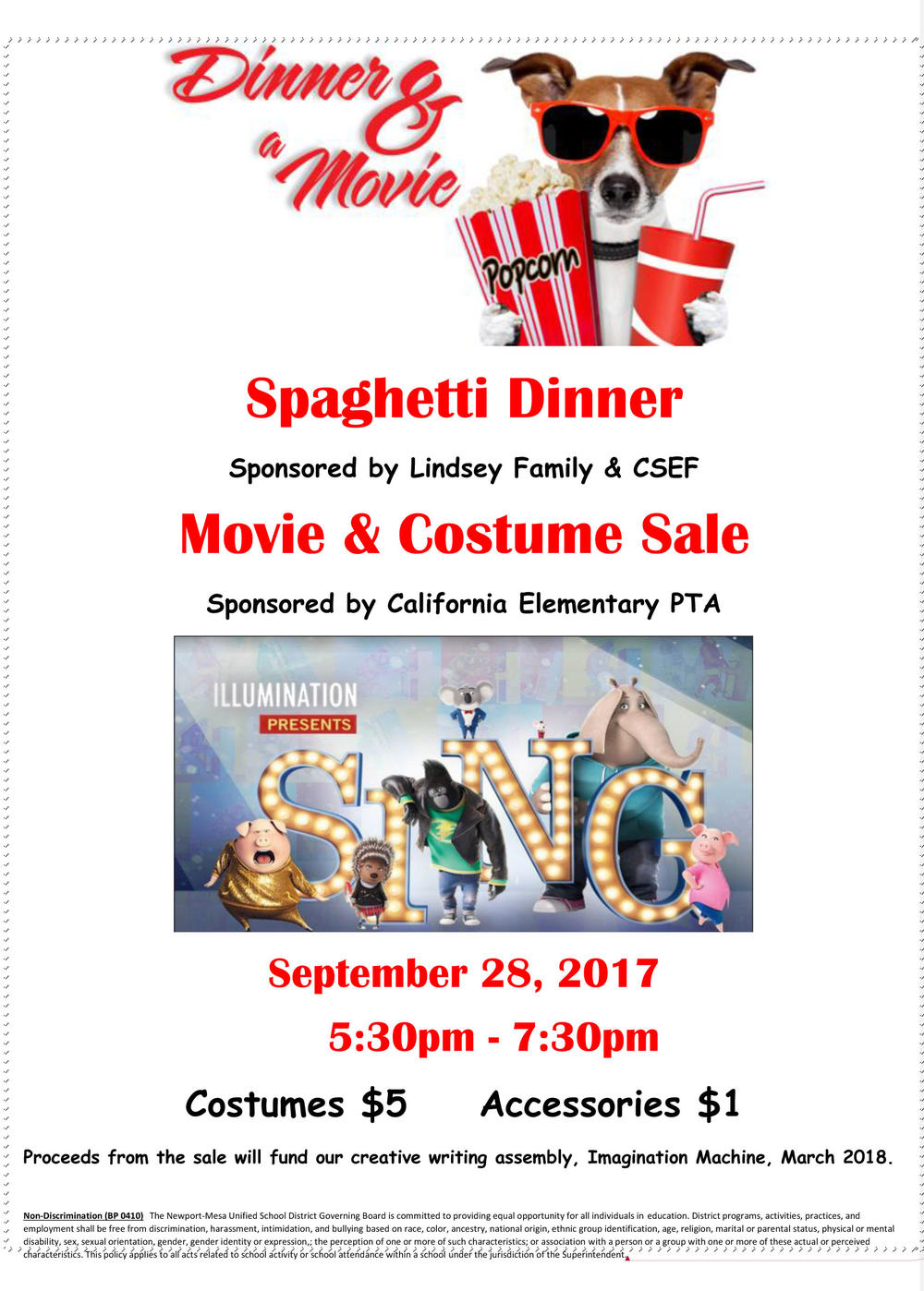 Dinner,Movie and Costume Sale Flyer