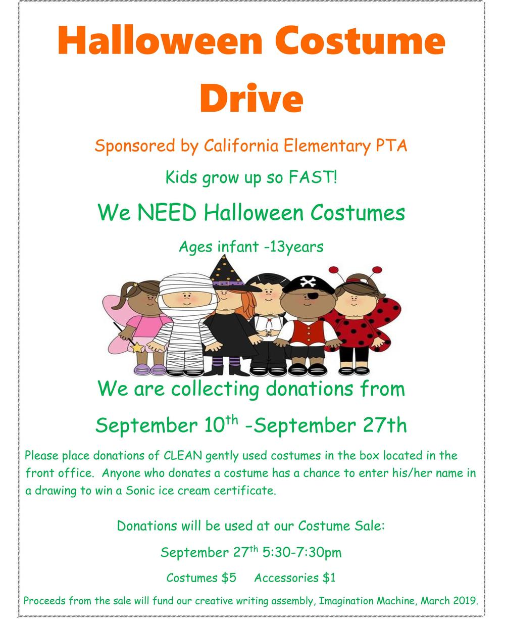 Costume Drive flyer
