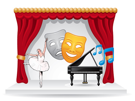 Stage with ballerina, comedy   tragedy theater masks and a piano