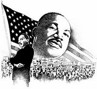 Flag behind Martin Luther King, Jr.