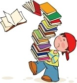 A boy carry a pile of books