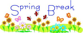The words Spring Break with flowers  and  butterflies