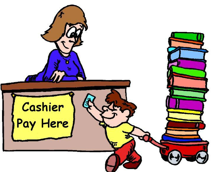 Boy pulling wagon full of books and paying cashier