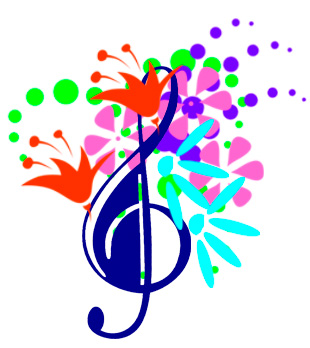 Musical note surrounded by colorful flowers